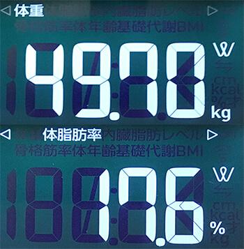 体脂肪計の体脂肪率2