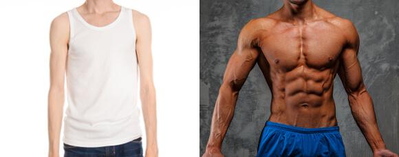 筋肉のある肩・ない肩