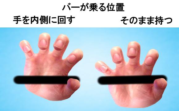 手とバーの位置