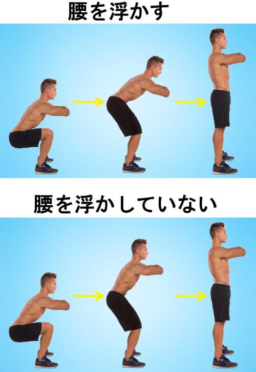 腰のテコを使うスクワット